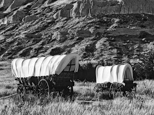 Nebraska, Scotts Bluff National Monument. Covered Wagons in Field by Dennis Flaherty
