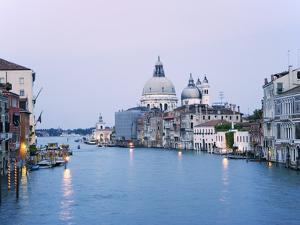 Santa Maria della Salute Cathedral from Academia Bridge along the Grand Canal at Dusk, Venice by Dennis Flaherty