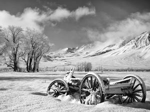 USA, California, Bishop. Snow-Covered Vintage Wagon in Owens Valley by Dennis Flaherty