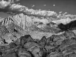 USA, California, Sierra Nevada Mountains. Moon Above Mt Whitney by Dennis Flaherty