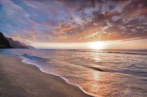 Kee Beach Sunset by Dennis Frates