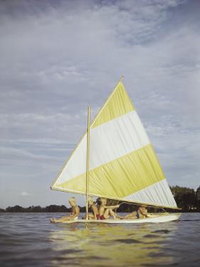 Boys Sailing on Lake by Dennis Hallinan