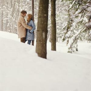 Couple Embracing in Snow by Dennis Hallinan
