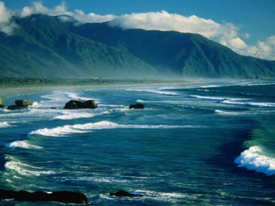 Surf with Mountains in Background, Near Greymouth, Greymouth, New Zealand by Dennis Johnson