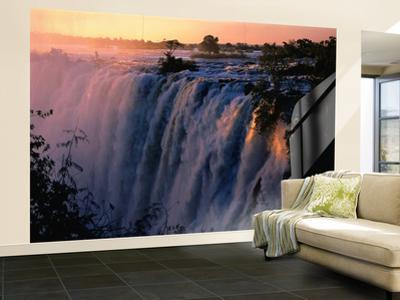 Victoria Falls at Sunset from Zambia, Victoria Falls, Zambia by Dennis Johnson