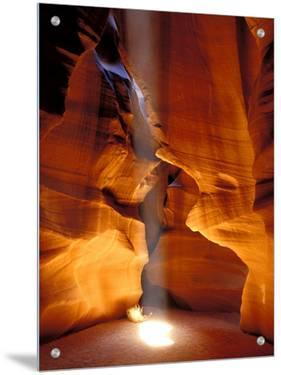 Sun Shining Beam of Light onto Canyon Floor, Slot Canyon, Upper Antelope Canyon, Page, Arizona, USA by Dennis Kirkland