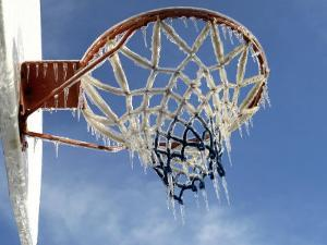 Ice Formed on a Basketball Net by Dennis Macdonald