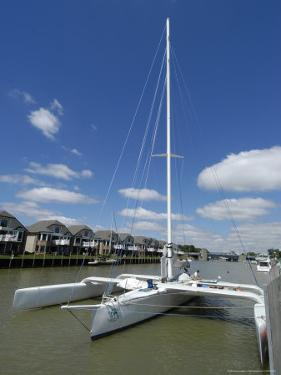 Pontoon Style Sailboat, Earth Voyager, Pt Huron by Dennis Macdonald