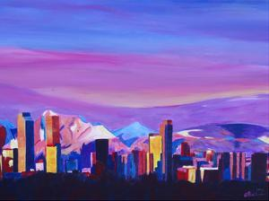 Denver Colorado Sunset Mood With Mountains by M Bleichner