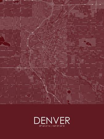 Denver, United States of America Red Map