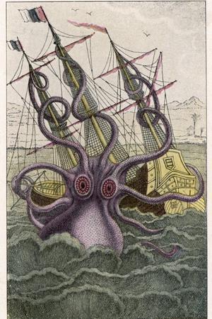 Kraken Attacks a Sailing Vessel