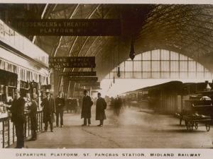 Departure Platform, St Pancras Station, London. Midland Railway