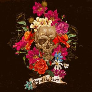 Skull and Flowers Day of the Dead by depiano