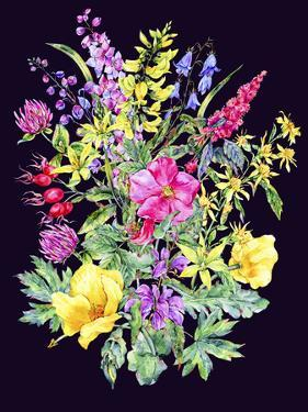 Watercolor Summer Wild Flowers by depiano