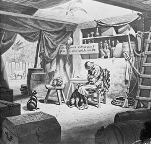 Depiction of Robinson Crusoe Alone with Animals in Makeshift Dwelling