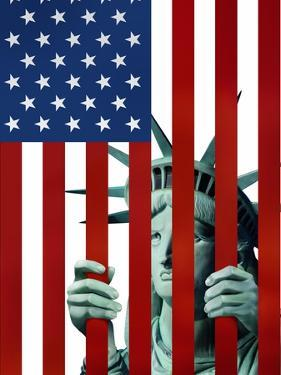 Statue of Liberty in American Flag Jail by Derek Bacon