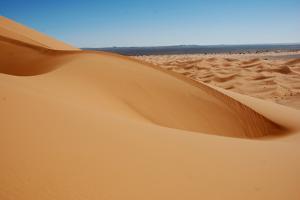 View of desert sand dunes, Grande Dune, Erg Chebbi, Sahara Desert by Derek Hall