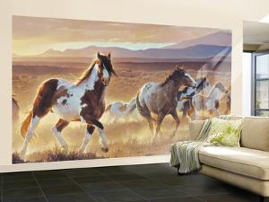 Desert Horse With Painted Ponies Huge Mural Art Print Poster