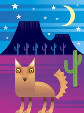 Desert Landscape at Night with Coyote and Cacti