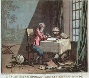 Rene Descartes (1596-1650) Writing His World System by Desfontaines