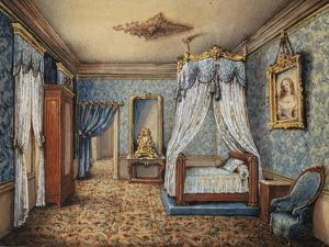 Design of Bedroom, 1844, Watercolour by Leger, France, 19th Century