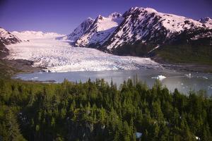 Aerial of Spencer Glacier Kenai Mountains Chugach National Forest Southcentral Alaska Summer by Design Pics Inc