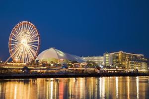 Amusement Park on Navy Pier at Dusk by Design Pics Inc