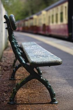 Bench on Train Platform; Yorkshire,England by Design Pics Inc