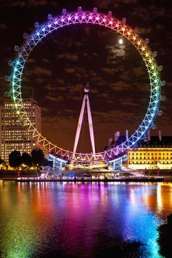 Big Wheel Aka London Eye Lit Up with the Rainbow Colours During Pride Night by Design Pics Inc