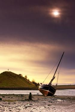 Boat on Beach at Low Tide; Alnmouth, Northumberland, England by Design Pics Inc