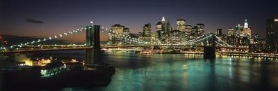 Brooklyn Bridge and Lower Manhattan at Dusk from Manhattan Bridge by Design Pics Inc