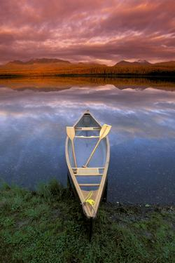 Canoe on Otter Lake Evening Light Southcentral Alaska Summer Scenic by Design Pics Inc