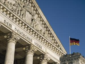 Detail of Bundestag (Reichstag) with German Flag in Front by Design Pics Inc