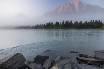 Drift Boat on the Outlet of Kenai Lake Near Cooper Landing with Cecil Mountain Shrouded by Design Pics Inc