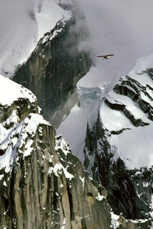 Glacier Pilot and Plane in Ak Range Moose's Tooth in Ak by Design Pics Inc