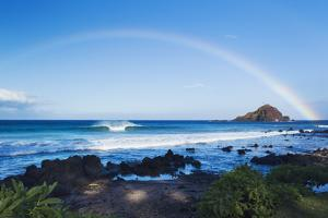 Hawaii, Maui, Hana, Dramatic Coastline, Rainbow over Ocean by Design Pics Inc
