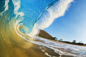Hawaii, Maui, Makena, Beautiful Blue Ocean Wave Breaking at the Beach by Design Pics Inc