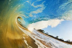 Hawaii, Maui, Makena, Beautiful Blue Ocean Wave Breaking at the Beach by Design Pics Inc