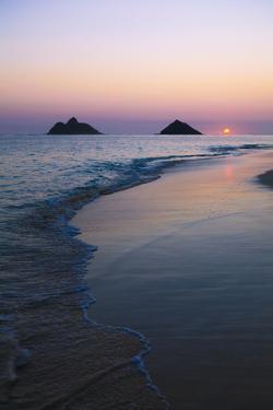 Hawaii, Oahu, Kailua, Lanikai, Sun Sinking Below Horizon on Beach by Design Pics Inc