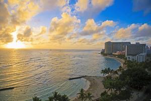 Hawaii, Oahu, Waikiki, View of the Pacific Ocean and Waikiki Beach During Sunset by Design Pics Inc
