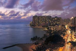 Hawaii, Oahu, Waikiki, View of Waikiki at Night by Design Pics Inc