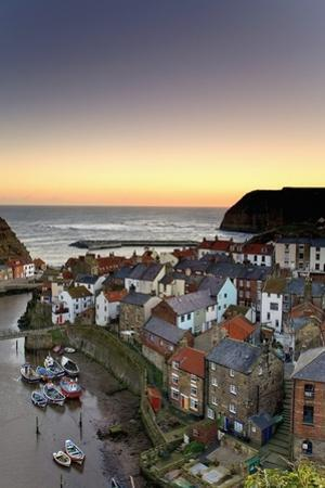 High Angle View of Staithes Townscape; North Yorkshire, England, Uk