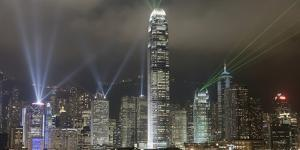 Hong Kong Light Show, at Night, over Skyline Elena Roman Durante by Design Pics Inc
