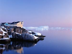 Houses on the Coastline with Icebergs, Disko Bay by Design Pics Inc