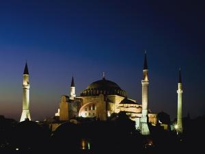 Illuminated Hagia Sophia Mosque at Dusk by Design Pics Inc