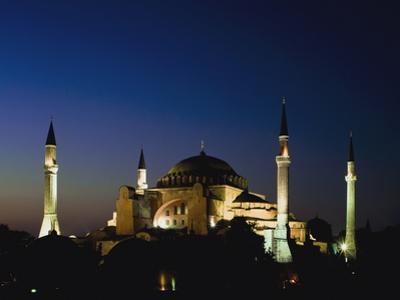 Illuminated Hagia Sophia Mosque at Dusk