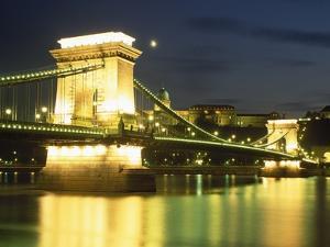 Illuminated Sz Chenyi Chain Bridge at Night by Design Pics Inc
