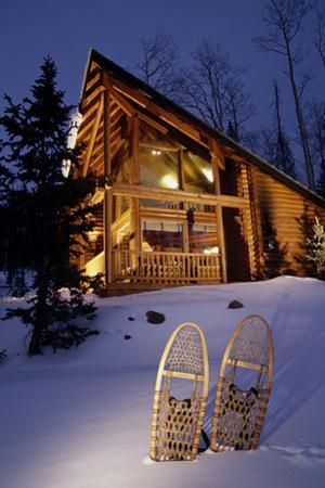 Lighted Cabin with Snowshoes in Front Utah - Nbrianhead Winter by Design Pics Inc