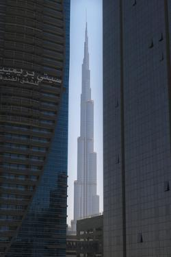 Looking Between Two Tall Office Buildings to the Burj Khalifa; Dubai, United Arab Emirates by Design Pics Inc