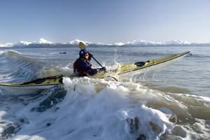 Man Paddles Kayak in Surf Kachemak Bay Homer Ak Kp Spring by Design Pics Inc